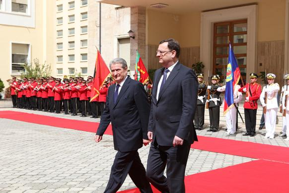 Prime Minister Petr Nečas visited the Republic of Albania on 16 April 2012