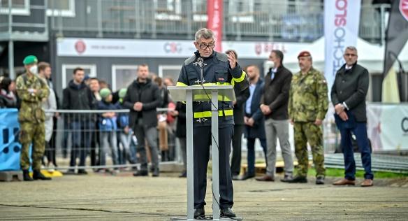 Předseda vlády Andreje Babiše při projevu na Dnech NATO a Dnech Vzdušných sil Armády České republiky, 19. září 2021.