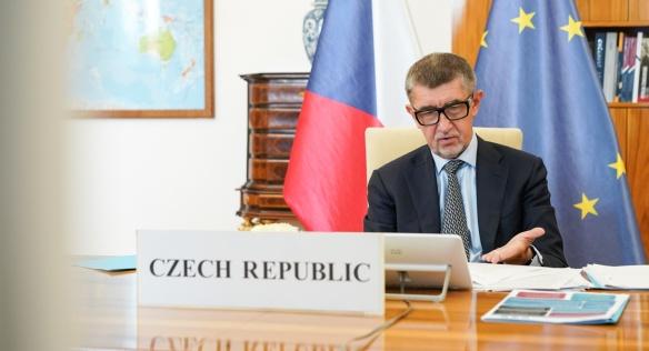 Premiér Andrej Babiš při vystoupení v rámci videokonference Evropské rady, 19. června 2020.