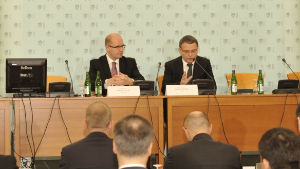 The Prime Minister Bohuslav Sobotka and Minister of Foreign Affairs Lubomir Zaorálek initiated Annual meeting of Ambassadors of the Czech Republic, on the 25th of August, 2014, source: mzv.cz