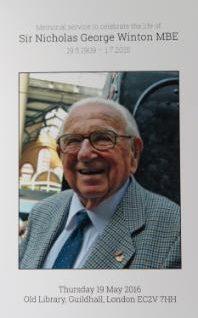 Pozvnánka na vzpomínkové setkání na Sira Nicholase Wintona