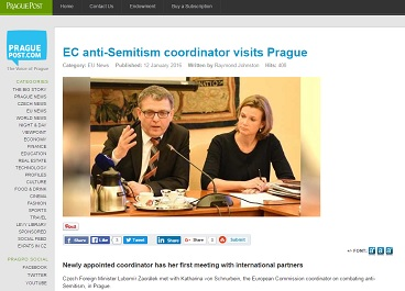 The Prague Post: EC anti-Semitism coordinator visits Prague