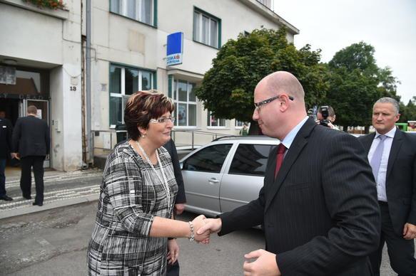 Předseda vlády Bohuslav Sobotka navštívil město Kopidlno, 24. září 2015.