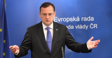 Prime Minister Petr Nečas at a press conference following a meeting of the European Council
