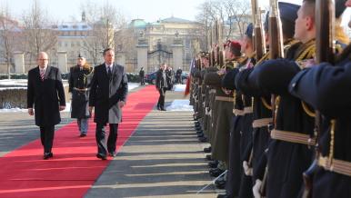 22. ledna 2016: Na pozvání premiéra Sobotky přijel do Prahy britský premiér David Cameron.