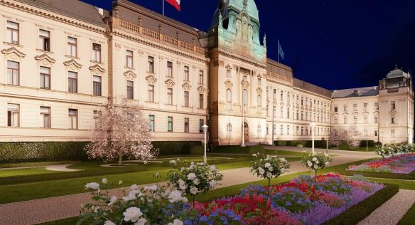 Úřad vlády spustil rozsáhlou rekonstrukci zahrady Strakovy akademie, 2. června 2021.