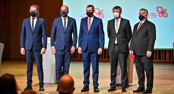 Premiéři V4 spolu s předsedou Evropské rady Ch. Michelem, 17. února 2021.