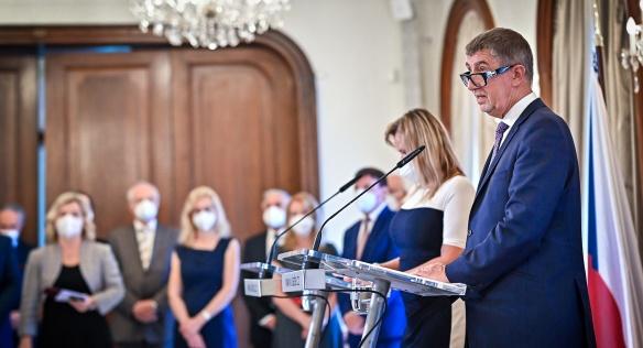 Premiér Andrej Babiš ocenil přínos laureátů cen k prosazování bezpečnostní politiky České republiky, 22. června 2021.