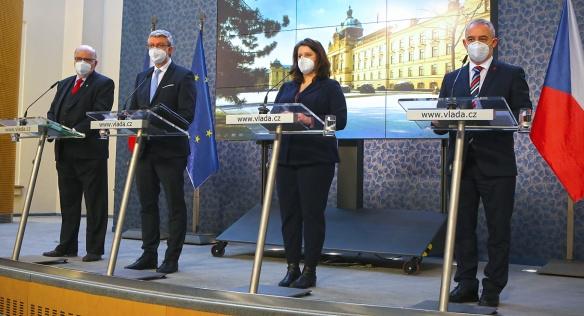 Tisková konference po jednání tripartity, 22. února 2021.