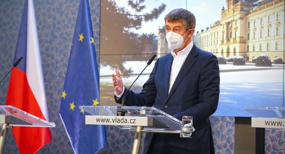 Předseda vlády Andrej Babiš na tiskové konferenci, 24. února 2021.