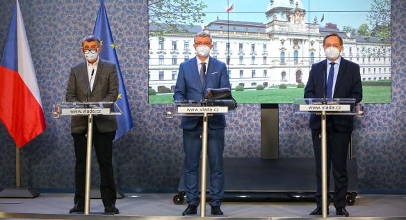 Tisková konference po jednání vlády, 19. dubna 2021.