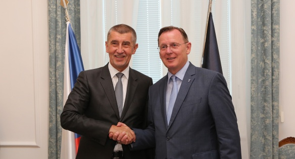Premier Babiš with Prime Minister of the Free State of Thuringia Ramelow before their meeting in the Straka Academy, 4 June 2018.