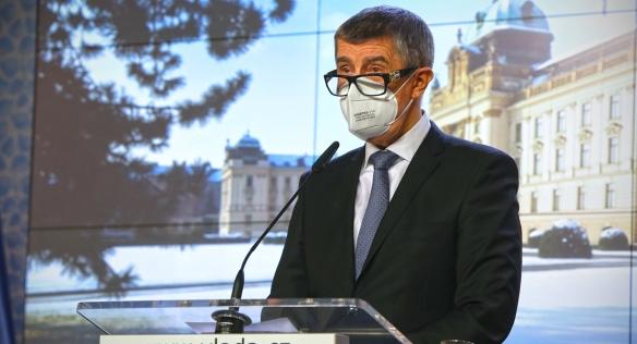 Předseda vlády Andrej Babiš na tiskové konferenci po mimořádném zasedání vlády, 27. ledna 2021.