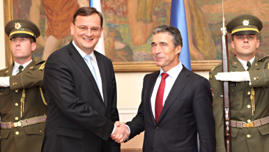 Prime Minister Petr Nečas meets with NATO Secretary General Anders Fogh Rasmussen, 7 September 2011