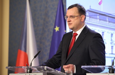 Prime minister Petr Ne�as, press conference