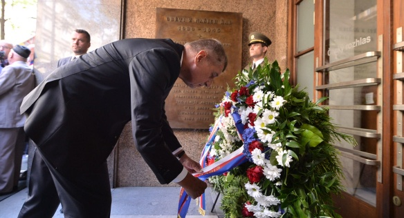 Prime Minister Babiš paid his respects to the victims of the occupation at the Czech Radio, 21 August 2018.