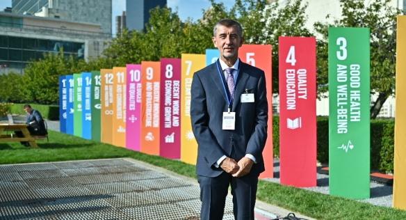 Premiér Andrej Babiš připomněl delegátům Valného shromáždění OSN také seznam závazků v oblasti udržitelného rozvoje, 26. září 2019.