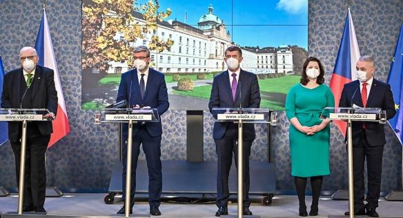 Tisková konference po jednání tripartity, 14. prosince 2020