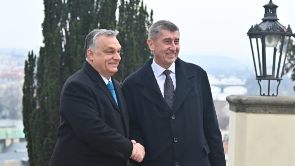 Andrej Babiš with Hungary's Prime Minister Orban on the terrace of Kramář's Villa, 30 November 2018.