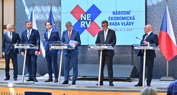 Na tiskové konferenci Národní ekonomické rady vlády byla představena dosavadní i budoucí činnost tohoto poradního orgánu vlády, 22. července 2020.