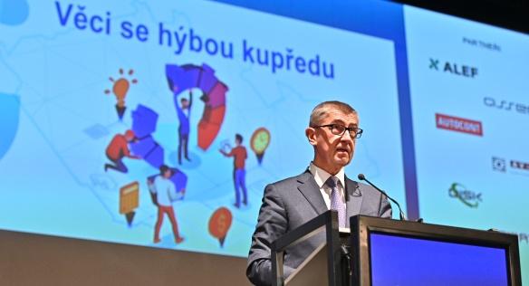 Andrej Babiš na konferenci Internet ve státní správě a samosprávě, 1. dubna 2019.