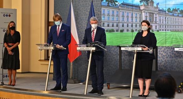 Tisková konference po jednání vlády, 14. září 2020.