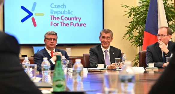Andrej Babiš and Karel Havlíček at the American Chamber of Commerce on 6 March 2019.