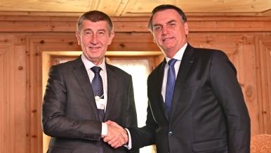 Premiér Babiš s brazilským prezidentem Bolsonarem, 24. ledna 2019.