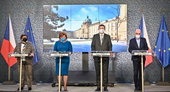 Tisková konference po jednání vlády, 1. února 2021.