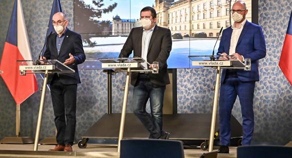 Tisková konference po jednání vlády, 15. února 2021.