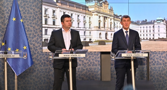 Prime Minister Andrej Babiš announced a state of emergency and other preventive measures at a press conference, 12 March 2020.