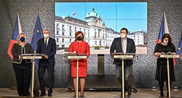 Tisková konference po jednání vlády, 1. března 2021.