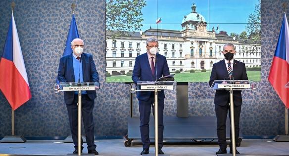 Tisková konference po jednání tripartity, 12. dubna 2021.