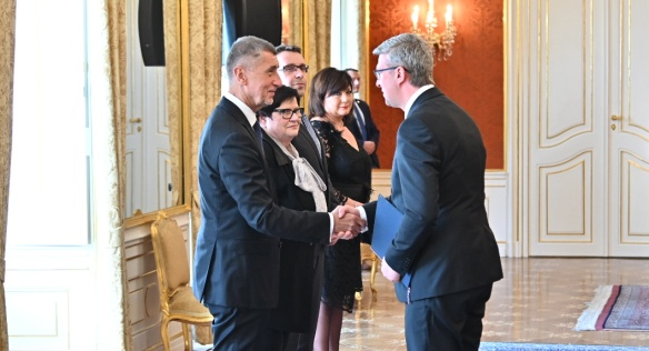 Andrej Babiš introduced three new members of the Government to their Ministries and gave them a number of tasks, 30 April 2019.
