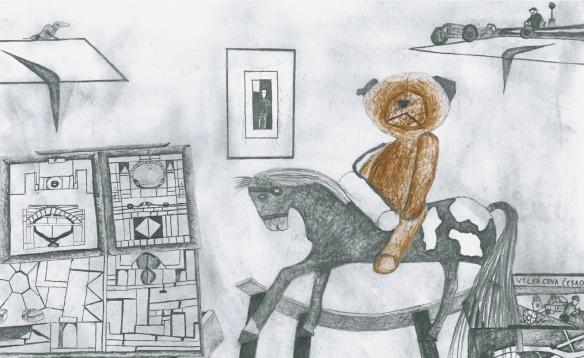 Motiv letošního PF Úřadu vlády na téma nejlepší dárek před 100 lety nakreslil Miroslav z Dětského domova Příbor.