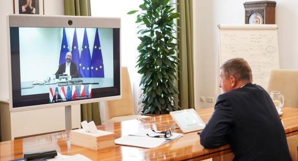 Předseda vlády Andrej Babiš jednal s premiéry V4 a předsedou Evropské rady Charlesem Michelem, 2. června 2020.