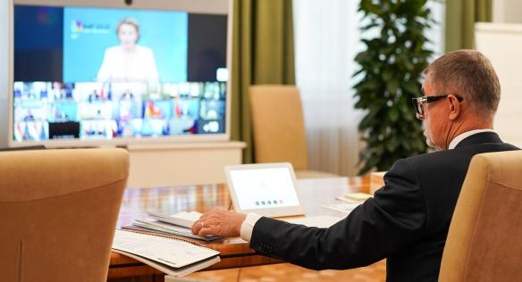 Premiér Andrej Babiš se zúčastnil videokonferenčního summitu Evropské rady se zeměmi Východního partnerství, 18. června 2020.