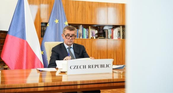 Premiér Babiš se zapojil do videokonferenčního jednání Evropské rady k novému návrhu víceletého rozpočtu EU a tzv. plánu obnovy, 19. června 2020.