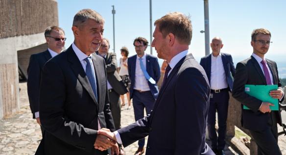 Premiér Andrej Babiš se saským předsedou vlády Michaelem Kretschmerem, 21. srpna 2020.