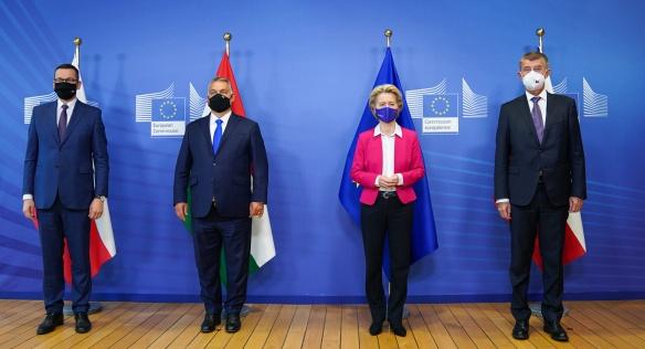 Premiéři zemí V4 se setkali s předsedkyní Evropské komise Ursulou von der Leyen, 24. září 2020.