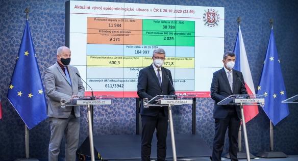 Tisková konference po mimořádném jednání vlády, 21. října 2020.