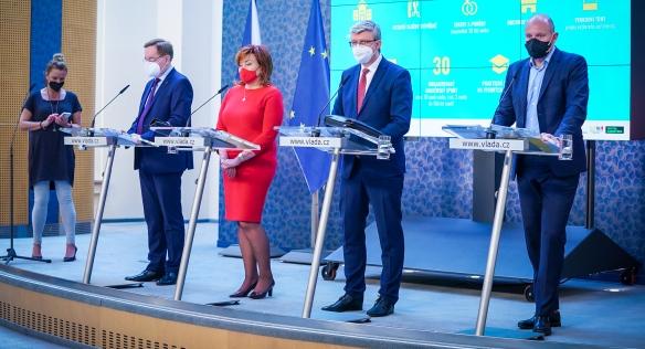Tisková konference po mimořádném jednání vlády, 6. května 2021.