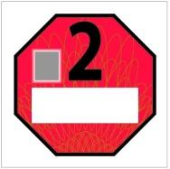 Emisní plaketa pro emisní kategorii 2 – červená RAL 3020