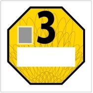Emisní plaketa pro emisní kategorii 3 – žlutá RAL 1023