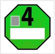 Emisní plaketa pro emisní kategorii 4 – zelená RAL 6024