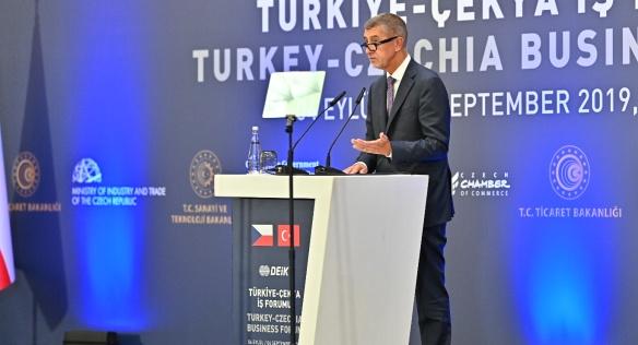 Na zahájení Turecko-českého ekonomického fóra v Istanbulu přednesl projev i premiér Andrej Babiš, 4. září 2019.